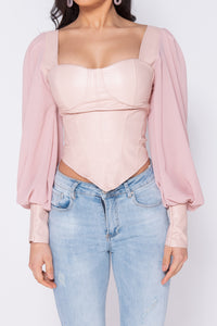 Pink PU Corset Detail Top With Sheer Sleeves