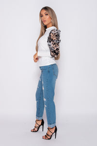 White Puffed Sleeve Floral Flock Print High Neck Top