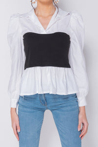 White Corset Detail Puffed Sleeve Blouse