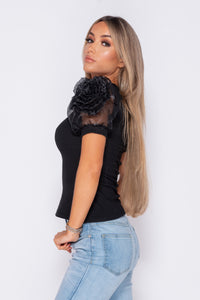 Black Organza Rosette Detail Sleeve Rib Top