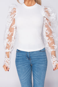 White Sheer Lace Sleeve High Neck Rib Top