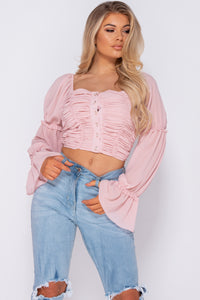Pink Shirring Detail Button Up Front Crop Top