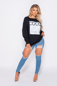 Black Coco Print Oversized Sweatshirt