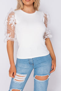 White Lace Puffed Sleeve Rib Knit Top