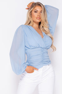 Powder Blue Shirring Detail Wrap Front Top