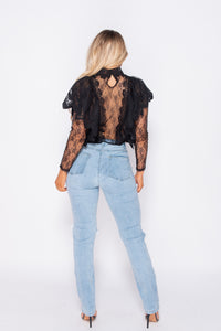 Black Lace Frill Detail High Neck Top