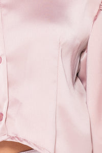 Pink Satin Puff Sleeve Cropped Blouse Top