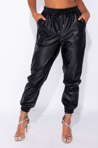 Black Pu Elasticated Waistband & Hem Jogging Trousers
