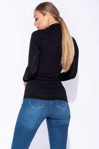 Black Skinny Rib Knit High Neck Top - Parisian-uk