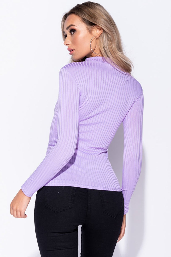 Image: Lilac Skinny Rib Knit High Neck Top