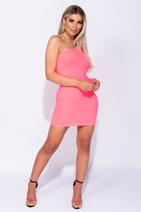 Neon Pink One Shoulder Rib Knit Bodycon Mini Dress