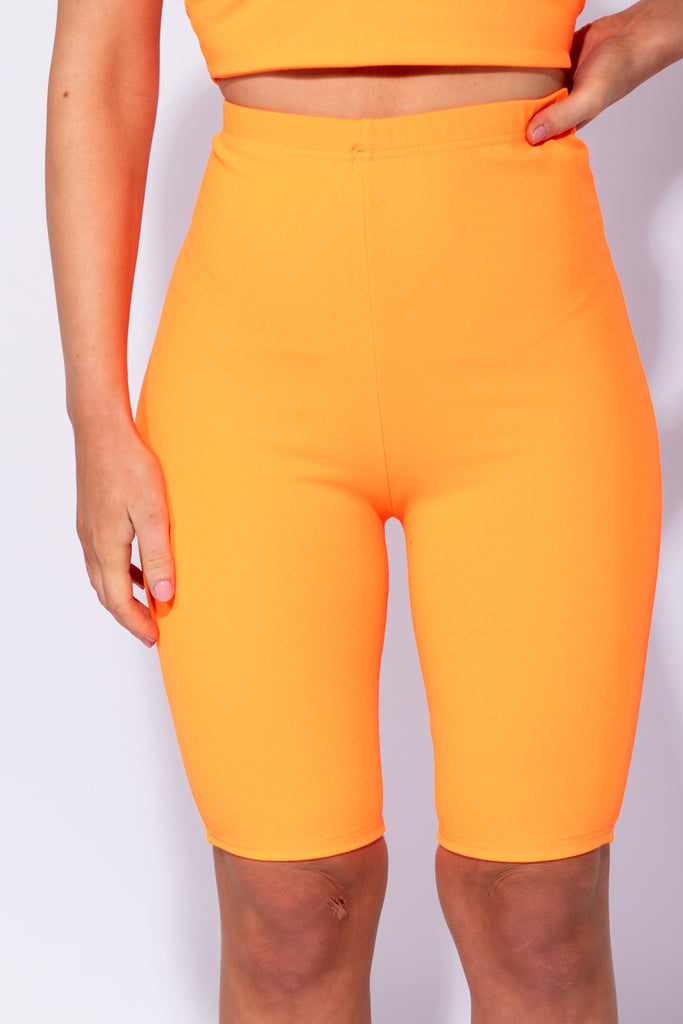 Image: Neon Orange High Waist Stretch Cycling Shorts