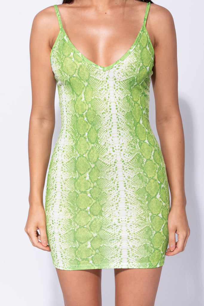 Image: Neon Green Snake Print Plunge Neck Bodycon Mini Dress