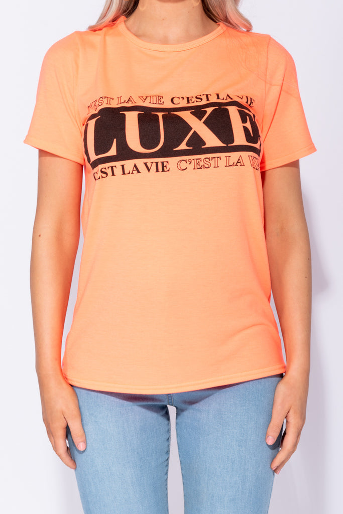 Image: Neon Orange Luxe Print Oversized T Shirt