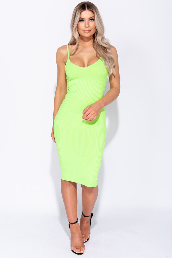Image: Neon Green Rib Knit Plunge Neck Bodycon Cami Dress