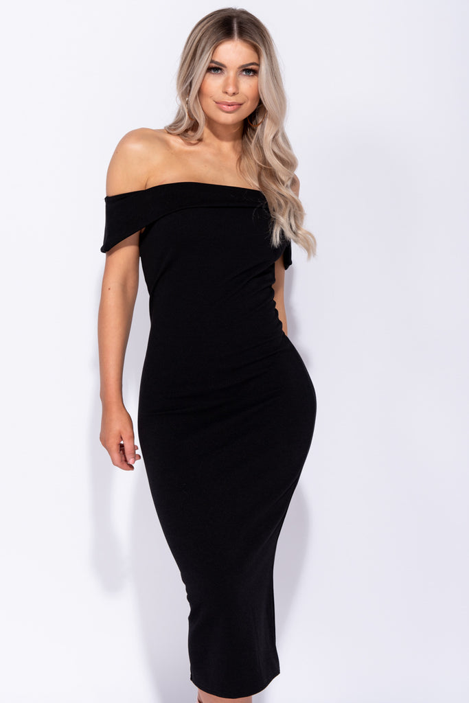 Image: Black Bardot Bodycon Mini Dress - Parisian-uk