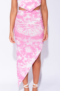 Baby Pink Tie Dye Asymmetric Skirt - Parisian-uk