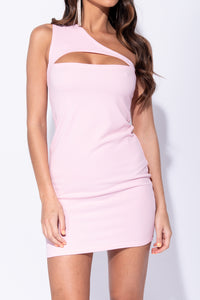 Baby Pink One Shoulder Cut Out Detail Bodycon Mini Dress - Parisian-uk