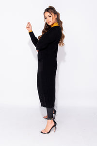 Black Edge To Edge Maxi Length Patch Pocket Cardigan