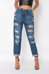 Dark Blue Distressed Turn Up Boyfriend Jean