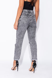 Light Grey Acid Multi Rip Turn Up Hem Boyfriend Jeans