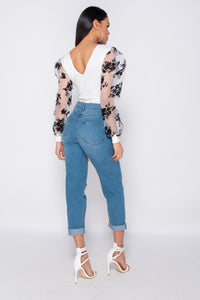 Mid Blue Multi Rip Turn Up Hem Boyfriend Jeans