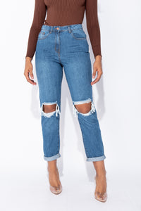 Mid Blue Distressed Turn Up Hem Boyfriend Jean