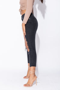Charcoal Extreme Distressed High Waist Boyfriend Jeans