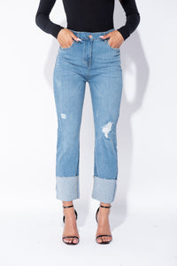 Mid Blue Distressed Straight Leg Turn Up Hem Stretch Jeans