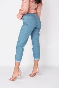 Mid Blue Distressed Multi Rip Turn Up Hem Mom Jeans