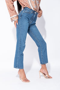 Blue High Waist Boyfriend Jeans