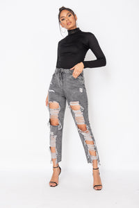 Light Grey Acid Exreme Rip Boyfriend Jean