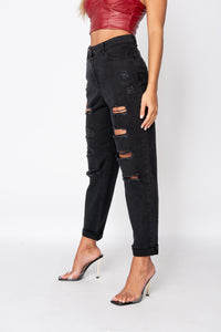 Charcoal Distressed Turn Up Boyfriend Jean