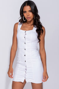 White Denim Button Front Raw Hem Square Neck Denim Dress