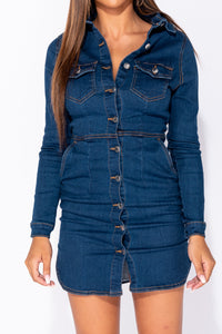 Dark Blue Button Up Front Long Sleeve Denim Bodycon Shirt Dress
