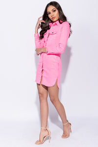 Neon Pink Button Up Front Pocket Detail Long Sleeve Denim Shirt Dress