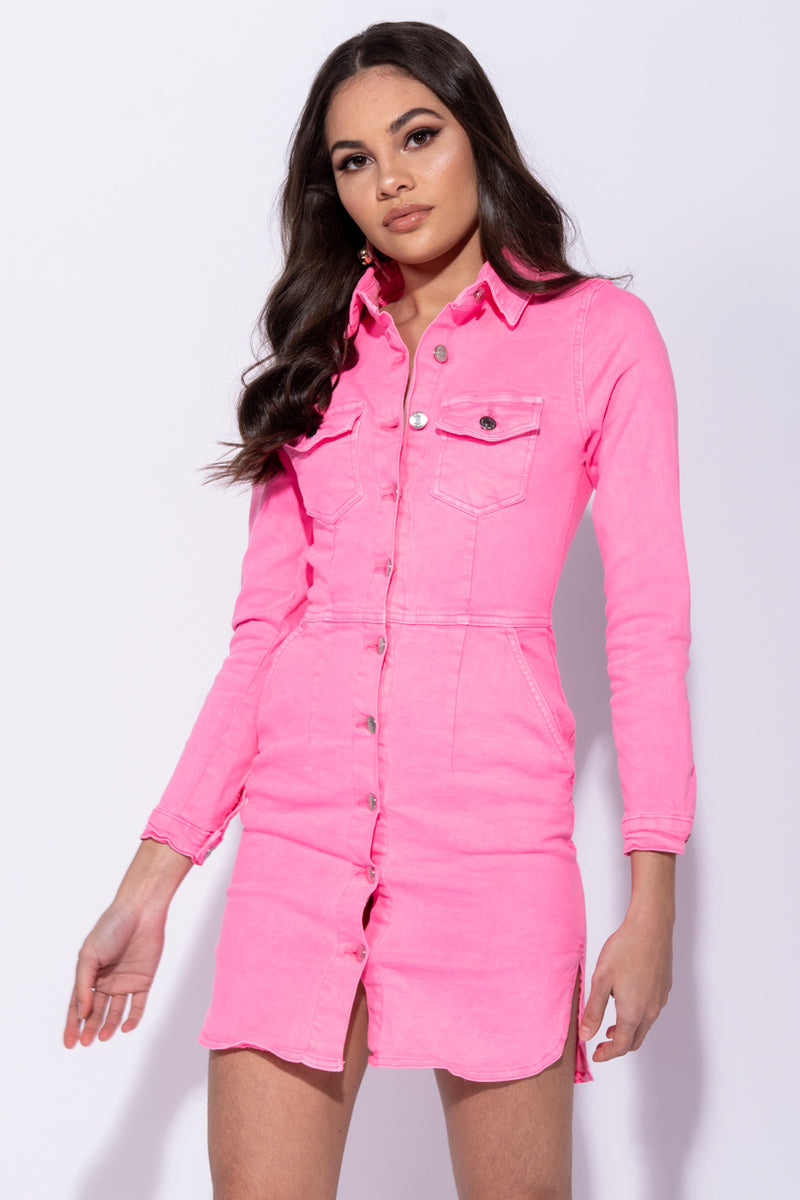 8bf48f19a8 Neon Pink Button Up Front Pocket Detail Long Sleeve Denim Shirt ...
