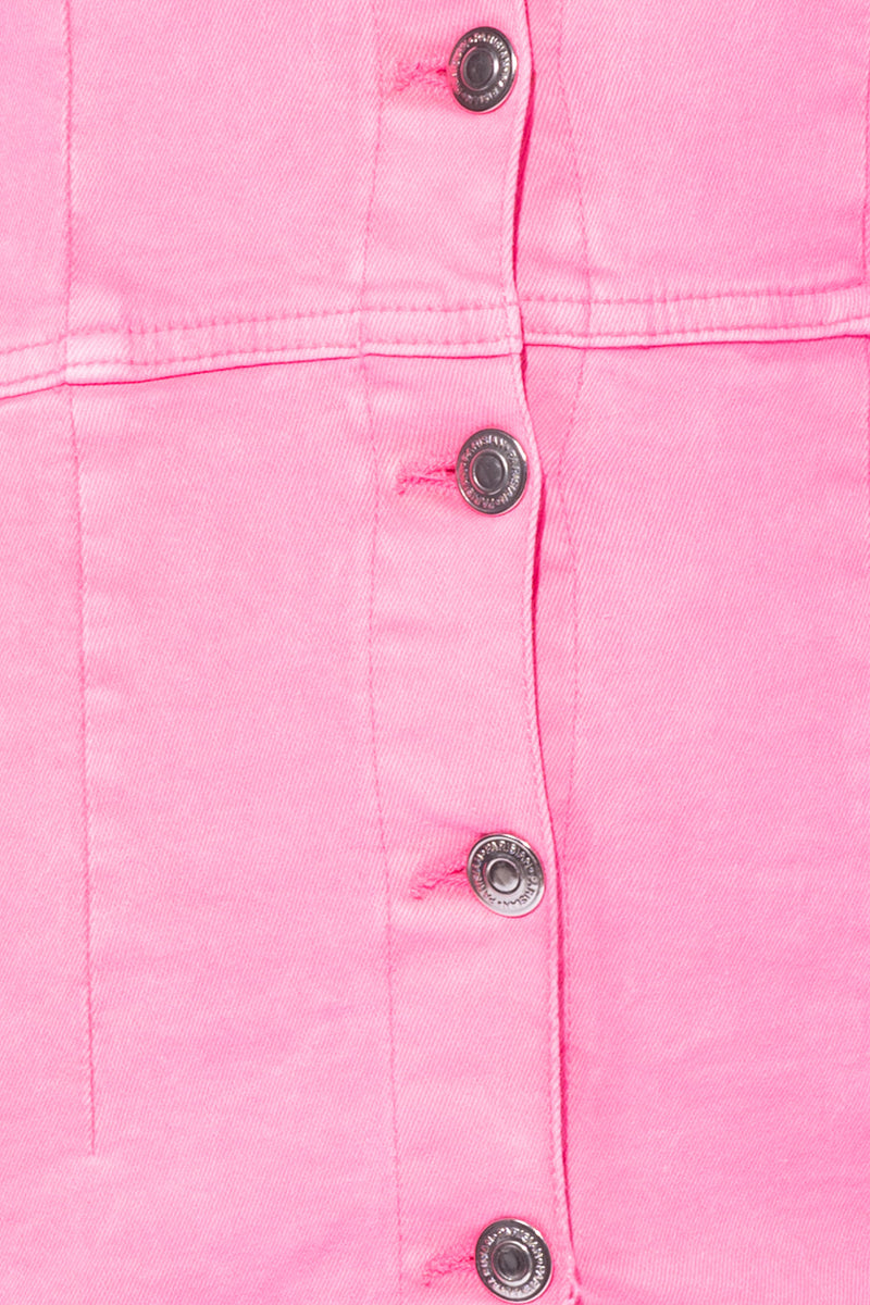 da5bf0f6a45 ... Neon Pink Button Up Front Pocket Detail Long Sleeve Denim Shirt Dress