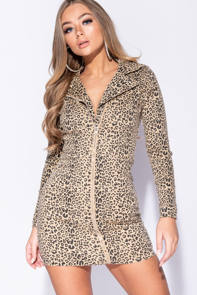 Image: Camel Black Leopard Print Zip Up Front  Long Sleeve Biker Bodycon Dress - Parisian-uk