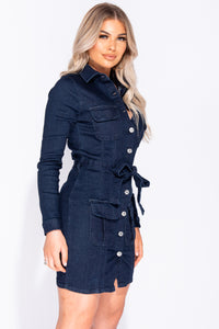 Indigo Button Up Tie Waist Long Sleeve Bodycon Mini Dress