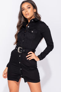 Black Denim Western Buckle Detail Button Up Bodycon Shirt Dress