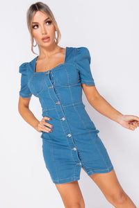 Light Blue Button Up Front Puff Sleeve Denim Dress