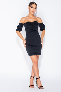 Charcoal Denim Front Ruched Detail Bardot Bodycon Mini Dress