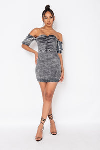 Light Grey Acid Front Ruched Detail Bardot Bodycon Mini Dress