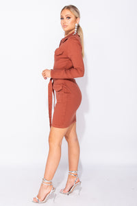 Rust Long Sleeve Zip Front Self Belt Stretch Denim Dress