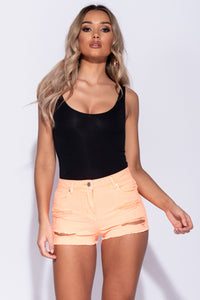 Neon Orange Distressed Frayed Hem Denim Hotpant