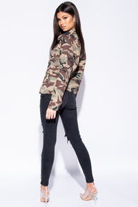 Camouflage Button Front Mid Length Shacket - Parisian-uk