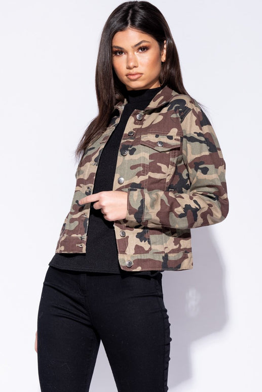Image: Camoflage Button Front Denim Jacket - Parisian-uk