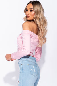 Pink Off The Shoulder Cropped Denim Jacket