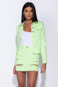 Green Multi Rip Western Denim Jacket - Parisian-uk